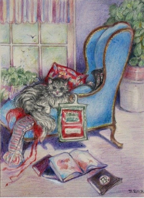 Cat in Chair by Barbara Ritch