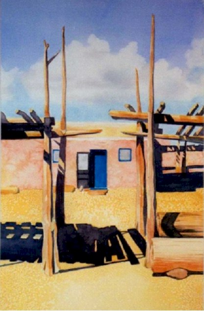 Southwest Pueblo - Watercolor by Penny Ritch